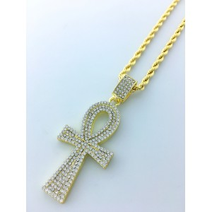 Iced Out Ankh Pendant Necklace