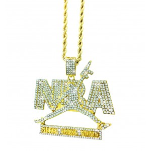 "Iced Out ""NEVER BROKE AGAIN"" Pendant Necklace"