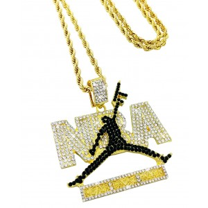 "Iced Out Black ""NEVER BROKE AGAIN"" Pendant Necklace"