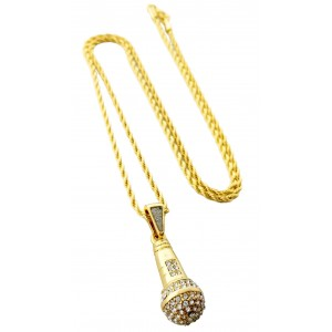 Iced Out Microphone Pendant Necklace