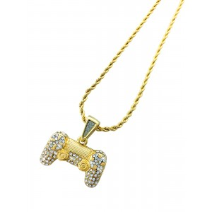 Iced Out Game Controller Pendant Necklace
