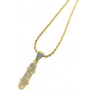 Iced Out Skateboard Pendant Necklace