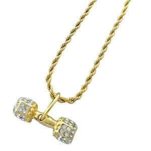 Iced Out Dumbbell Pendant Necklace