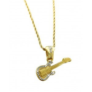 Iced Out Guitar Pendant Necklace
