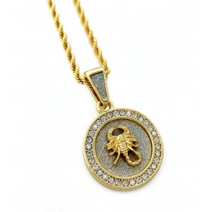 Iced Out Mini Scorpion Medallion Pendant Necklace