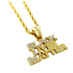 "Iced Out ""BLACK LIVES MATTER"" Pendant Necklace"