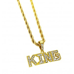 "Iced Out ""KING"" Pendant Necklace"